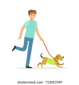 Young smiling man walking a dog vector Illustration