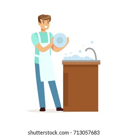 Young smiling man washing dishes in the kitchen, house husband working at home vector Illustration