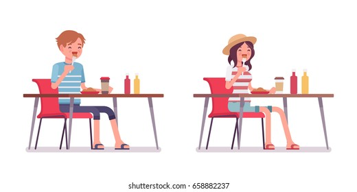 Young smiling man and woman wearing leisure summer fit, trendy stripe print, beach shoes, sitting and eating at the table. Vector flat style cartoon illustration, isolated, white background