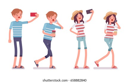 Young smiling man, woman wearing leisure summer fit, trendy stripe print, beach shoes, phone talking, making selfie, holding coffee. Vector flat style cartoon illustration, isolated, white background