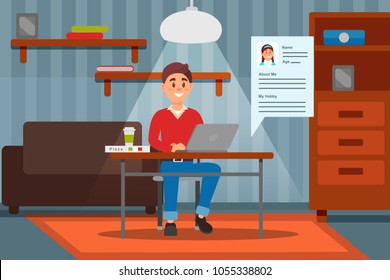 Young smiling man working on laptop computer in his home, room interior vector ilustration
