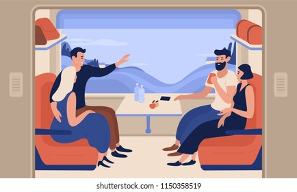 Young smiling men and women travelling by train. Cheerful people sitting in passenger car and talking to each other. Happy railway journey. Colorful vector illustration in flat cartoon style