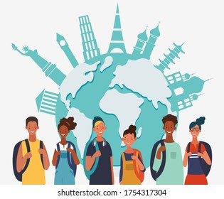 Young, smiling people with backpacks. Holiday vacation travel and adventure concept, vector illustration. World map background. Poster design style