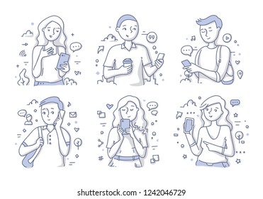 Young smiling people using mobile phones and gadgets. Getting use of technology trends. Doodle vector hand drawn illustration in line style for website and printing materials