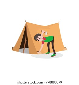 Young smiling teenager boy setting up tourist tent. Summer travel, camping or hiking concept. Flat style cartoon character. Vector illustration
