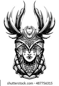 young smiling Valkyrie helmet with feathers