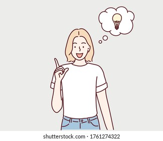 Young smiling woman having a good idea. and drawn style vector design illustrations.