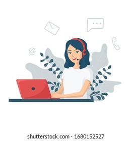 Young smiling woman with headphones and a microphone with a laptop.Concept illustration for customer service, assistance, call center. Online customer support and helpdesk. Cartoon vector illustration