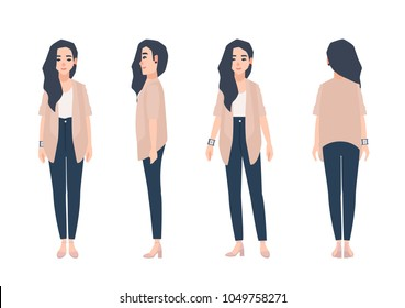 Young smiling woman with loose long brunette hair dressed in casual clothing isolated on white background. Cute girl wearing jeans and cardigan. Front, side, back views. Cartoon vector illustration