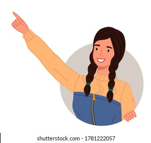 Young smiling woman pointing somewhere on a white background. Happy curious looking female character stretched out her hand and finger points to something interesting, makes a gesture paying attention