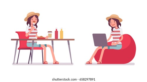Young smiling woman wearing leisure summer fit, trendy stripe print, beach shoes, sitting, eating, working with laptop on bean bag. Vector flat style cartoon illustration, isolated, white background