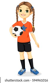 young soccer player girl illustration