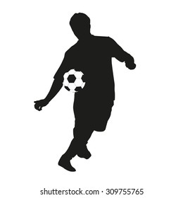 Young soccer player silhouette