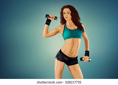 Young sports sexy fitness woman with dumbbells
