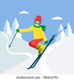 Young sportsman skier jumping on skis from a mountain in the background of a winter forest. The concept of sport and competition. vector illustration isolated illustration