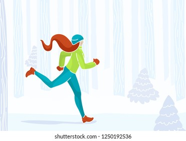 Young sportswoman jogging outside in winter forest