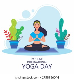 Young sporty woman doing Sukhasana yoga exercise. Woman meditating in lotus pose, relaxation exercise, Easy Seat pose.  21st June International yoga day special event. Vector illustration.