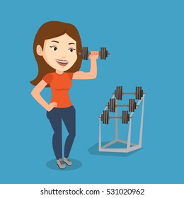 Young sporty woman lifting a heavy weight dumbbell. Caucasian strong sportswoman doing exercise with dumbbell. Weightlifter holding dumbbell in the gym. Vector flat design illustration. Square layout
