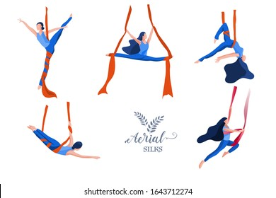 Young Sporty Woman in Sportswear practicing Aerial Yoga in a hammock. Aerial Silks Dance Set. Flat Vector Illustration. Female Healthy Lifestyle Concept.
