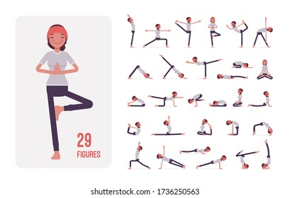 Young sporty yogi woman practicing yoga character set, pose sequences. Beautiful girl doing physical workout for mind and body exercise. Full length, different views, gestures, emotions, positions