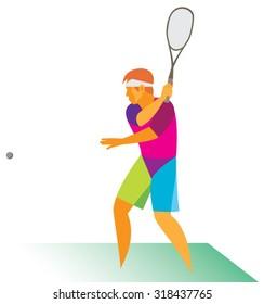 A young squash player hits the ball sharply