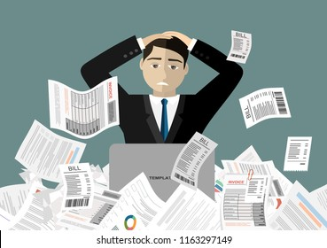Young stressed man have no money to pay debts, holding head in despair, can not pay bills, having financial troubles. Planning budget concept