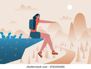 Young and strong confident woman woman sitting on the edge of the mountain. She points her hand into the distance. Flat vector illustration.