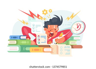 Young student before exams vector illustration. Scared boy doing some hard assignments and preparing for module work. Man panicking hard flat style design . Sleepless night before final test concept