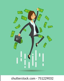 Young Student business lady. Success business woman on money cloud. Happy jumping worker man. Full editable for animation. Vector modern concept flat design character.