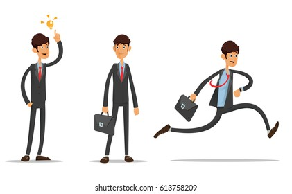 Young Student business man. New idea businessman. Idle pose. Late running on the job. Full editable for animation. With portfolio bag.Vector modern flat design character.