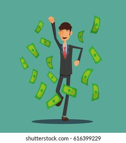 Young Student business man. Success businessman on money cloud. Happy jumping worker man. Full editable for animation.Vector modern concept flat design character.