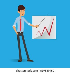 Young Student business man. Success businessman on infographics statistic desk. Idle pose, laughing happy worker man. Full editable for animation.Vector modern concept flat design character.