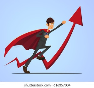 Young Student business man. Super hero businessman on statistics red arrow. Full editable for animation. With portfolio bag.Vector modern concept flat design character.