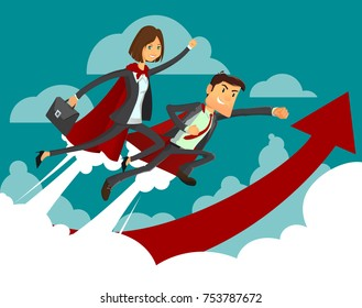 Young Student business woman and businessman. Super heroes business people on statistics red arrow. Full editable for animation. With portfolio bag. Vector modern concept flat design character.