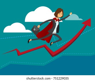 Young Student business woman. Super hero business lady on statistics red arrow. Full editable for animation. With portfolio bag. Vector modern concept flat design character.