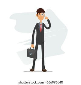 Young student businessman holding a magnifying glass, search concept. Full editable for animation. With portfolio bag.Vector modern flat design character.