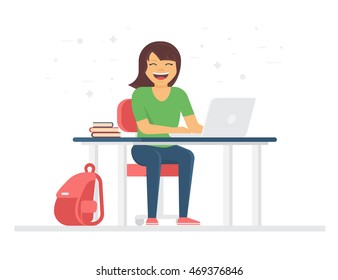 Young student or schoolgirl smiling and doing homework at home with laptop. Back to school flat illustration of young people who study in university or high school isolated on white