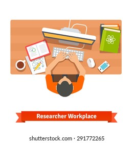 Young student or scientist researching and studying at his home workplace desk. Flat vector illustration isolated on white.