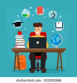 Young student sitting the desk in learning process. School homework. Concepts of education and e-learning. Vector illustration. Flat design.