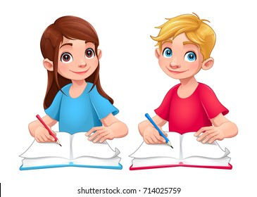 Young students boy and girl with books and pencils. Cartoon vector isolated characters.