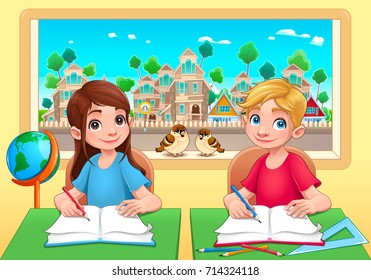 Young students boy and girl in the classroom. Cartoon vector illustration