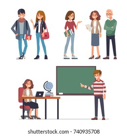 Young students and teachers. Flat style vector illustration isolated on white background.