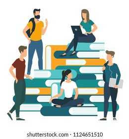 Young students university college books and knowledge vector concept. Flat design business  communicating ready to animation characters to compouse your scenes and animation. Creative teamwork illustr