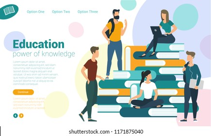 Young students university college books and knowledge web page vector concept. Ready eady to animation characters to compouse your scenes and animation.