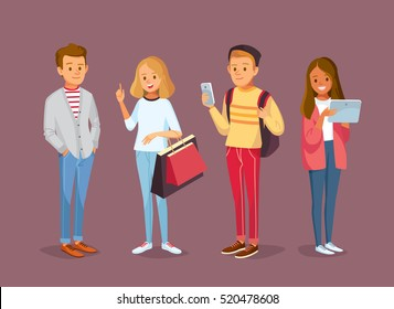 Young style people with gadgets and shopping bags