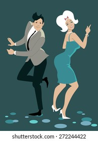 Young stylish couple dressed in late 1950s early 1960s fashion dancing the Twist, vector illustration, no transparencies, EPS 8