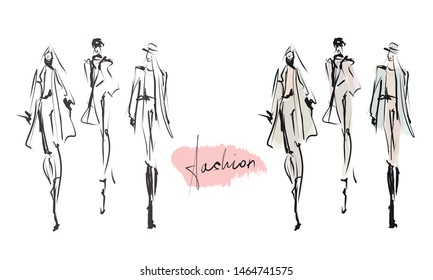 Young stylish girls. Women's fashion set. Hand-drawn illustration. Sketch, vector