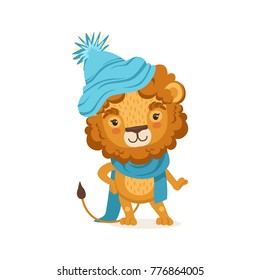 Young stylish lion cartoon character wearing winter hat and scarf. Animal with lush mane. Flat design vector illustration isolated on white.
