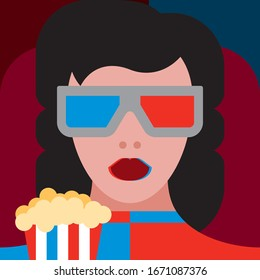 Young stylish woman wearing traditional 3d glasses watching 3d movie with popcorn pack. 3d style futuristic girl.