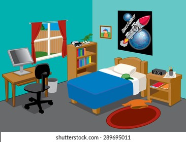 a young suburban boys brightly colored bedroom